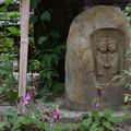 道祖神を飾る蛍袋(ホタルブクロ)