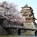 Photos: お堀に架かる冠木橋と高島城