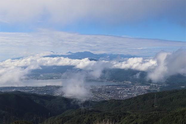 諏訪湖と南アルプス