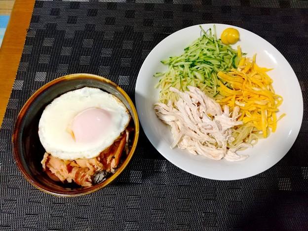 冷やし中華とミニ鶏叉焼丼