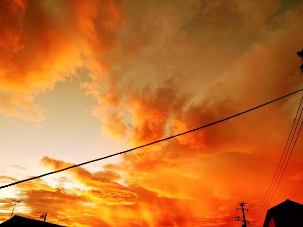 2021立秋の燃える様な朝焼け