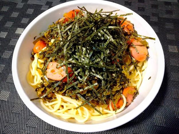 高菜とソーセージのスパゲッティー