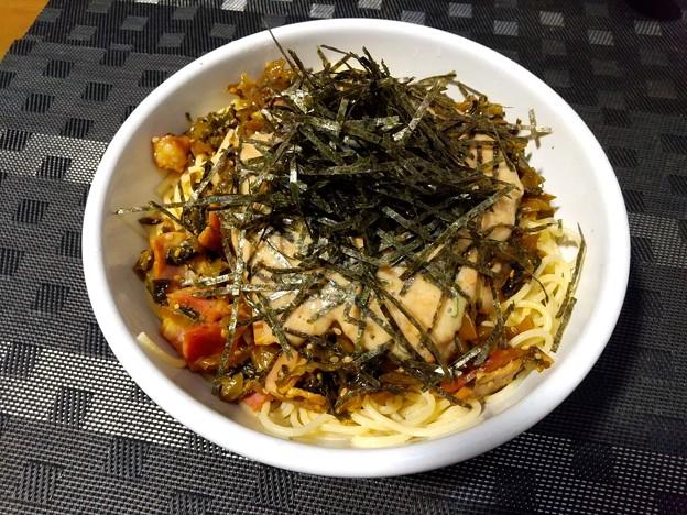 高菜&ベーコンと納豆のパスタ