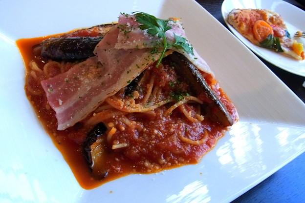 トマトとなすのスパゲッティー。
