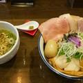 郡山市の麺屋信成さんにて鶏塩つけ麺(小・特製)をいただく 美味しゅうございました