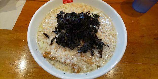 福島市の麺屋 傑心さんにてS4R(少ししょっぱい背脂塩らぁめん)とマキシマムTKGをいただく 美味しゅうございました