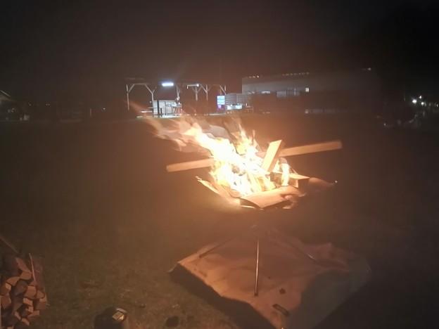 来ないミムミムを待って 合流後やっと焚火