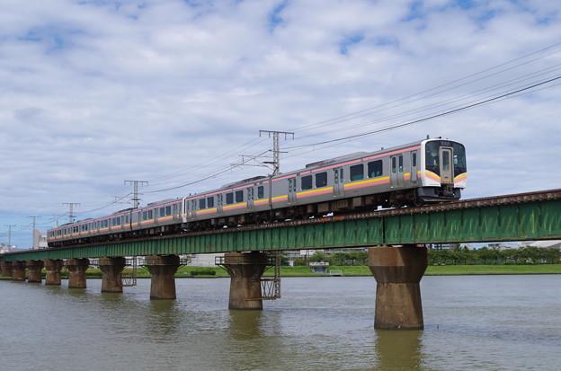 JR越後線 白山~新潟駅間の信濃川橋梁を渡るE129系