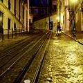 ケーブルカーの線路-Lisbon, Portugal