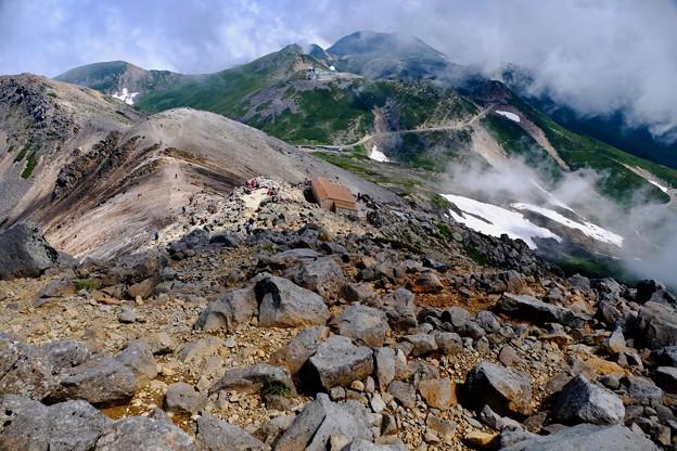 登山道を振り返る-長野県松本市:乗鞍岳