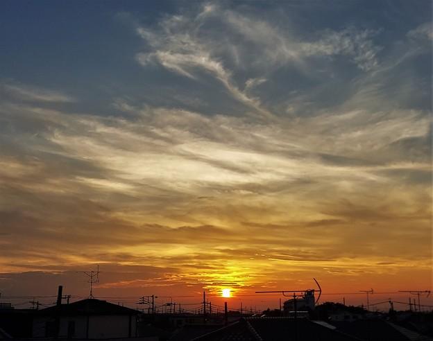 暑さが続く8月の夕日