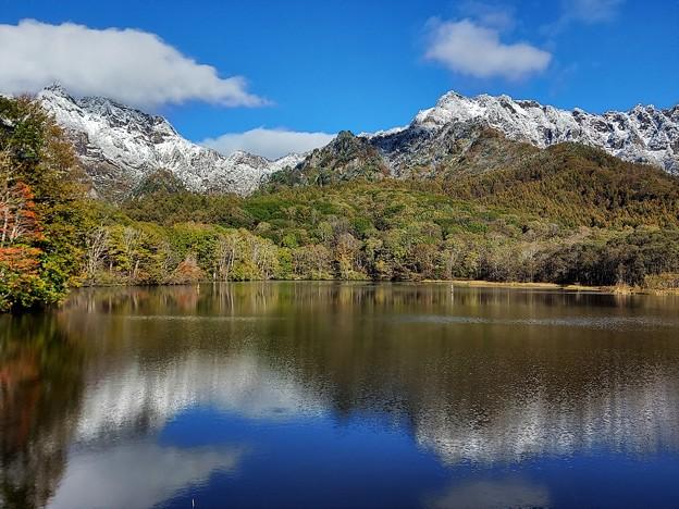 湖面に映る山々