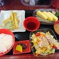 健康定食タケノコの天ぷら だし巻き玉子 豚サラダ