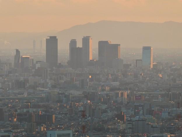 弥勒山山頂から見た夕暮れ時の名駅ビル群 - 1
