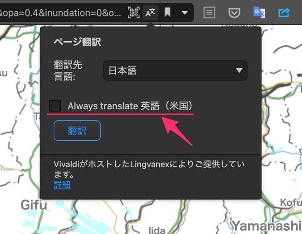 Vivaldi snapshot 3.8の翻訳機能:英語のページを常に翻訳する機能が追加 - 4