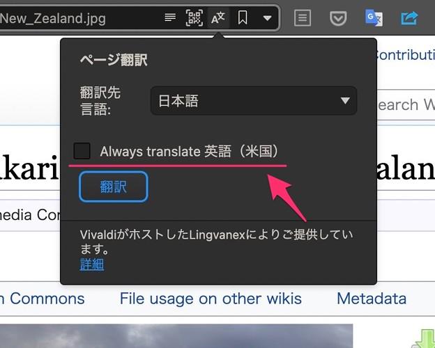 Vivaldi snapshot 3.8の翻訳機能:英語のページを常に翻訳する機能が追加 - 5