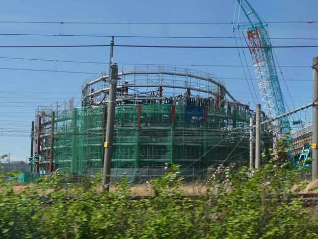 JR中央線車内から撮影した建設中のリニア中央新幹線 神領非常口(2021年4月25日)