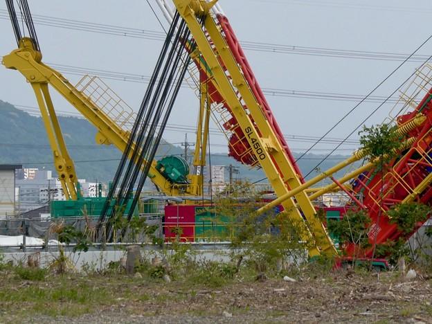 リニア坂下非常口工事現場の巨大移動式クレーン(2021年5月1日) - 3