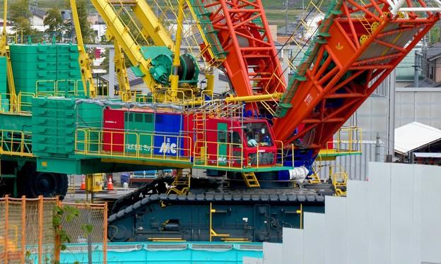 リニア坂下非常口工事現場の巨大移動式クレーン(2021年5月1日) - 9