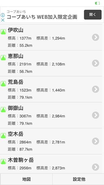 山登りに便利なOpenStreetMap活用アプリ「あの山へ!」- 6:周辺山々の情報をリスト表示
