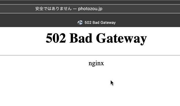 フォト蔵のクズ対応:アップロードさせないように「502 Bac Gateway」- 2