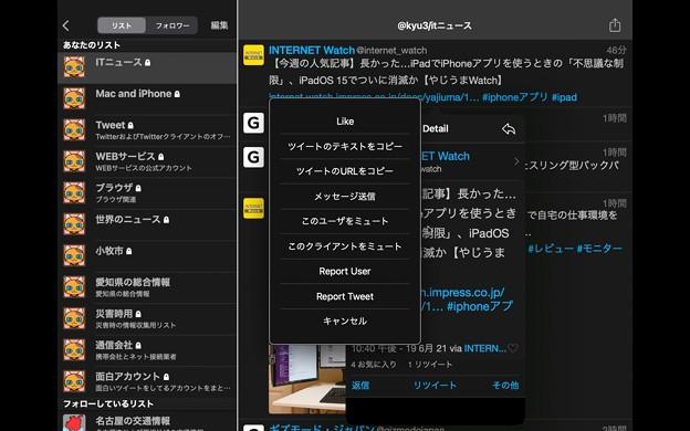 M1 Macbook Air:iPad版Echofonが結構使いやすい! - 9(その他メニュー)