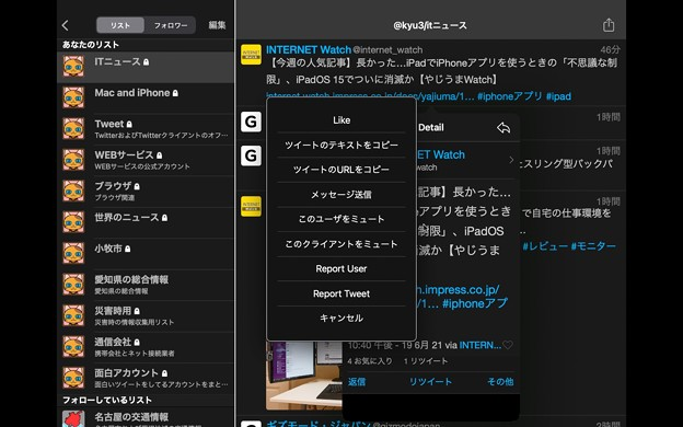 Photos: M1 Macbook Air:iPad版Echofonが結構使いやすい! - 9(その他メニュー)