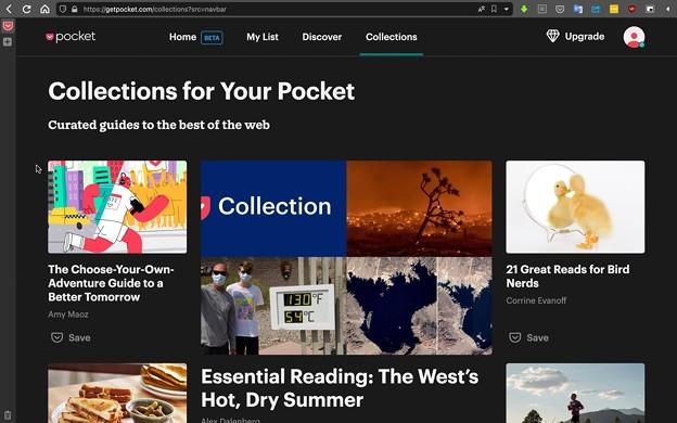 WEB版Pocketに追加された「Collections」
