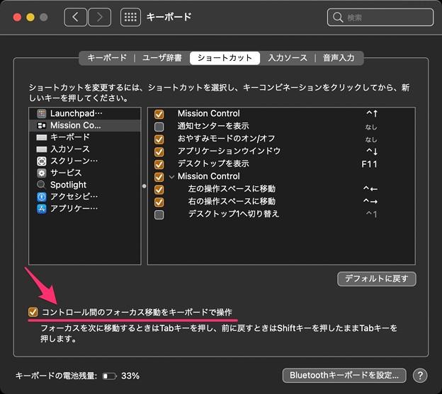 macOS BigSurのシステム環境設定:ショートカット設定にある「コントロール間のフォーカス移動をキーボードで操作」 - 1