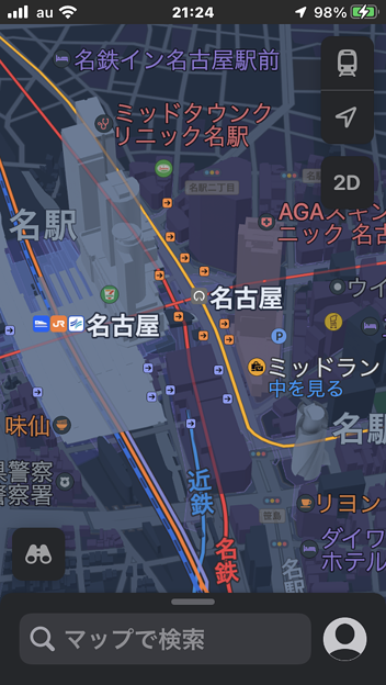 iOS15 マップアフ〓リ:名古屋市内の3Dモデリングが進化!- 5