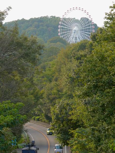 陸橋から見た尾張パークウェイ(愛知県道461号犬山自然公園線) - 4:モンキーパークの観覧車
