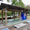 日本ラインうぬまの森:正門横の駐輪場と自販機