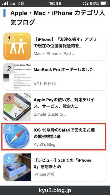 ライブドアブログの「Apple・Mac・iPhone カテゴリー人気ブログ」ランキング4位に! - 2
