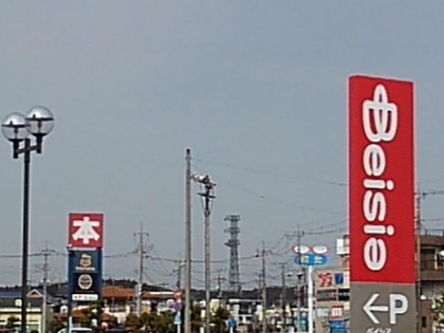 ベイシアの看板や鉄塔などの景色(3月1日)