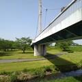 ゆうゆうパークの陸橋と小川(5月4日)