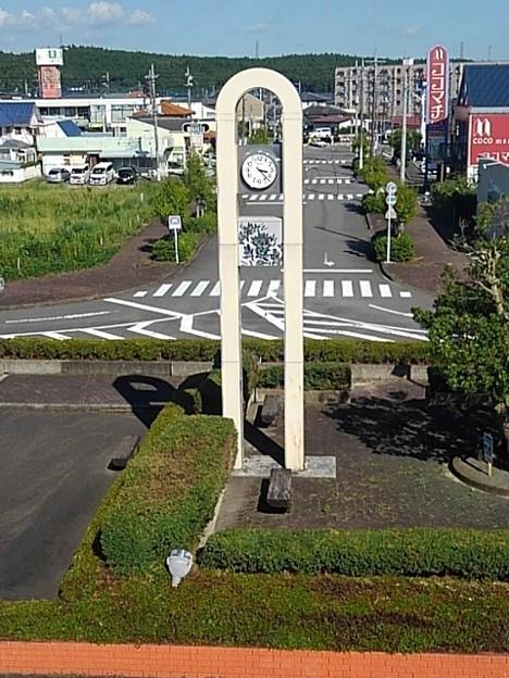 矢板駅の近くの時計台(8月6日)