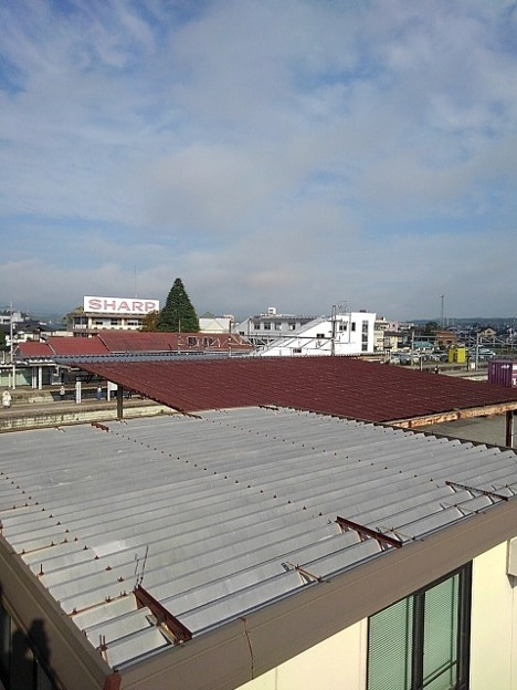 歩道橋の上からの矢板駅(10月8日)