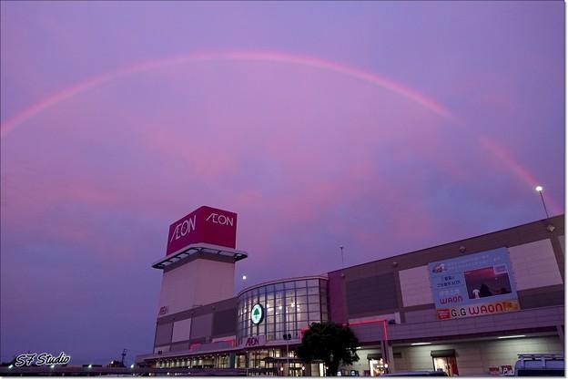 """日没後の """"東の空に見えた虹"""""""