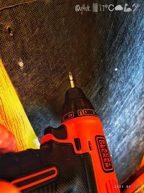 """5.12#改造計画110弾#電動ドライバー→防音板打ち直し購入5年""""BLACK+DECKER""""cord-system drill driver to soundproof screw worksDIY"""
