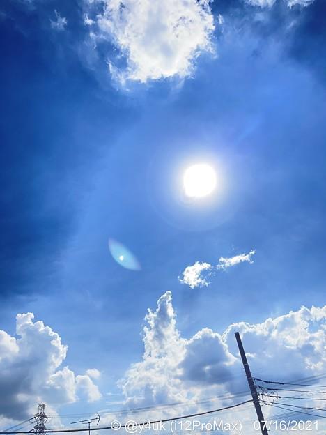 7.16梅雨明け34℃危険猛暑太陽雲ブルハ青空The end of the rainy season.The sky of Hot dangerous lonely sad..summer start