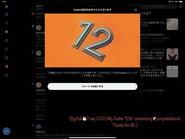 2 sep 2021#MyTwitterAnniversary congratulations!#Thanks for All ;)おめでとう12年#吉高由里子嬢と近スタート無理ブログ人生なり救い叫び