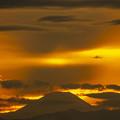 今夕の夕焼け富士