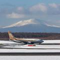 Photos: ANA 737-700 JA01AN 金シャチと樽前山