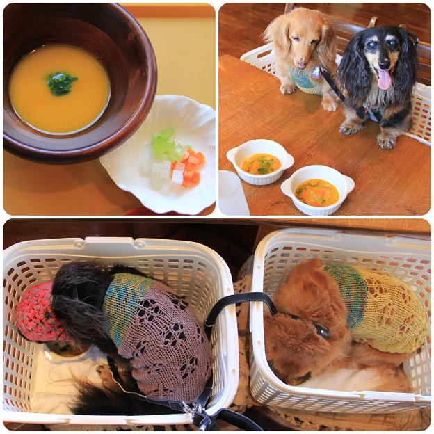 かぼちゃのスープとお野菜