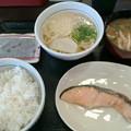 Photos: なか卯「銀鮭朝定食&はいからうどん小」370円&JAF優待券