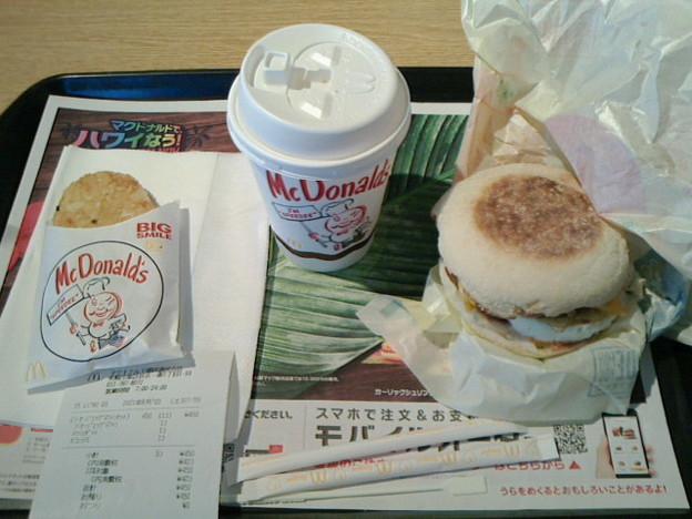 マクドナルド「ソーセージエッグマフィンセット」朝マック450 円ハッシュポテトカフェラテS