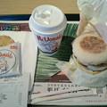 Photos: マクドナルド「ソーセージエッグマフィンセット」朝マック450 円ハッシュポテトカフェラテS