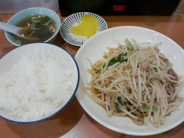 大連「豚肉ともやし炒め定食」6 80円