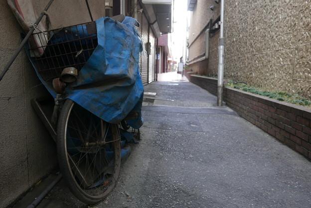路地の自転車