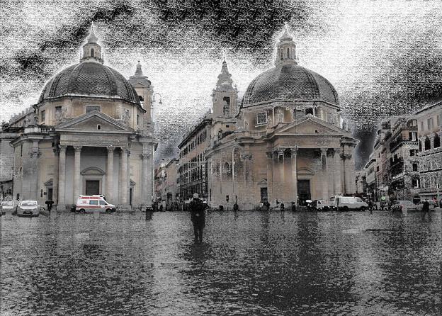 広場で俄雨